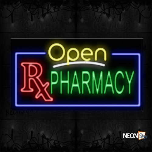 Image of 15554 Open Pharmacy With Border & Rx Sign Neon Sign_20x37 Black Backing