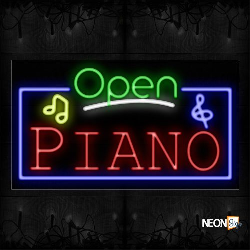 Image of 15556 Open Piano with blue border and music notes Neon Signs_20x37 Black Backing