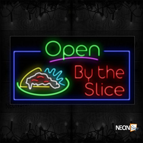 Image of 15570 Open By The Slice Of Pizza Neon Sign_20x37 Black Backing