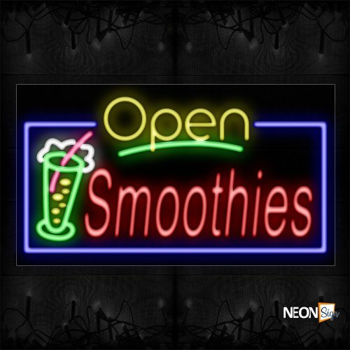 Image of 15571 Open Smoothies With Logo And Blue Border Neon Sign_20x37 Black Backing