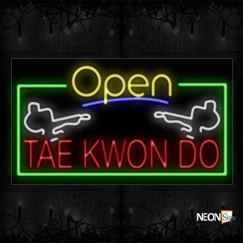 Image of 15578 Open Taekwondo With Green Border Traditional Neon_20x37 Black Backing