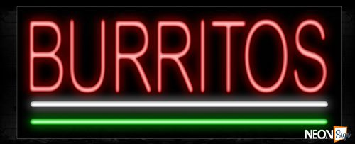 Image of 10027 Burritos with white and green lines Neon Sign_13x32 Black Backing