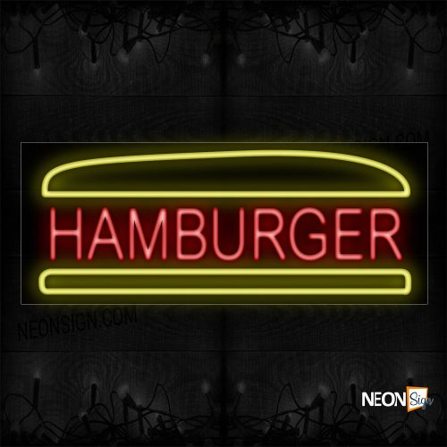 Image of 10074 Hamburger In Red With Burger Border Neon Sign_13x32 Black Backing