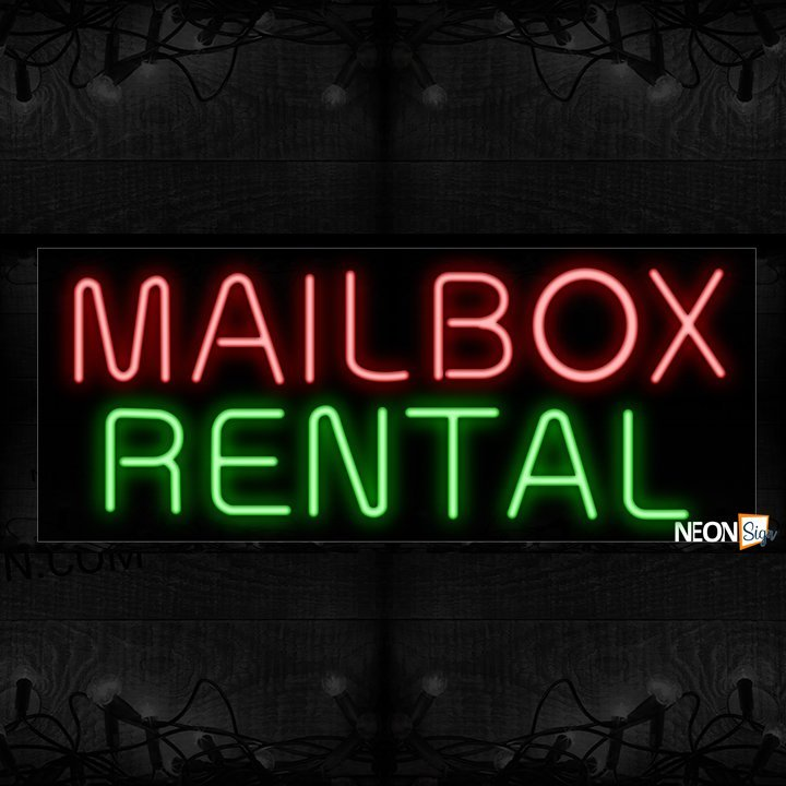 Image of Mailbox Rental in pink and green Neon Sign