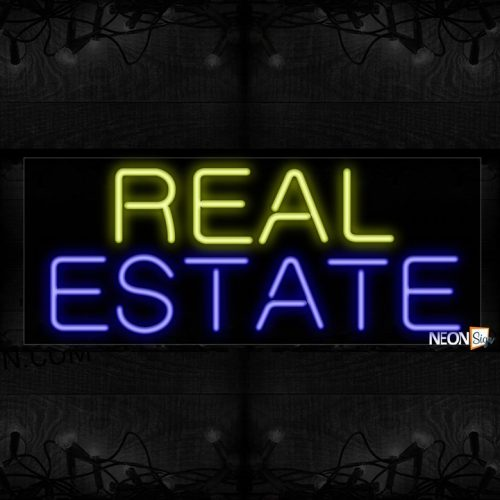 Image of 10115 Real Estate Neon Sign_13x32 Black Backing