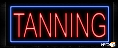 Image of Tanning In Red With Blue Border Neon Sign
