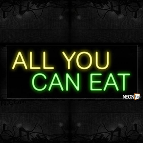 Image of 10178 All you can eat Neon Sign_13x32 Black Backing
