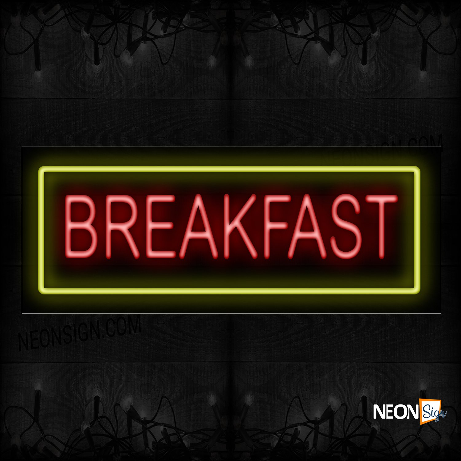 Image of 10182 Breakfast In Red With Yellow Border Neon Sign_13x32 Black Backing