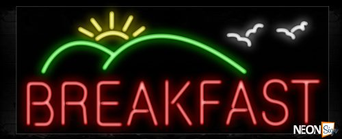 Image of 10215 Breakfast with mountain and sun logo Neon Sign_13x32 Black Backing