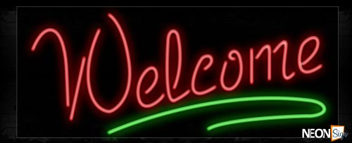 Image of Welcome With Green Border Neon Sign