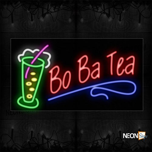 Image of BoBa Tea With Glass & Wavy Line Neon Sign