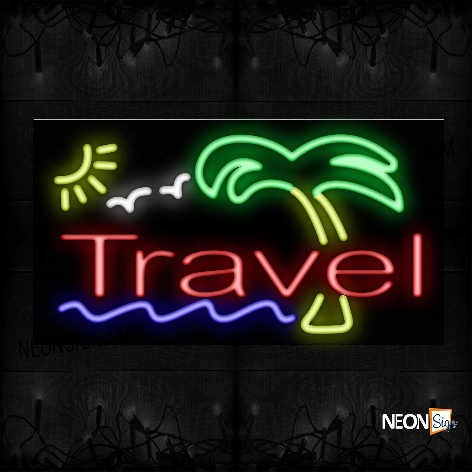 Image of Travel With Palm Trees Neon Sign