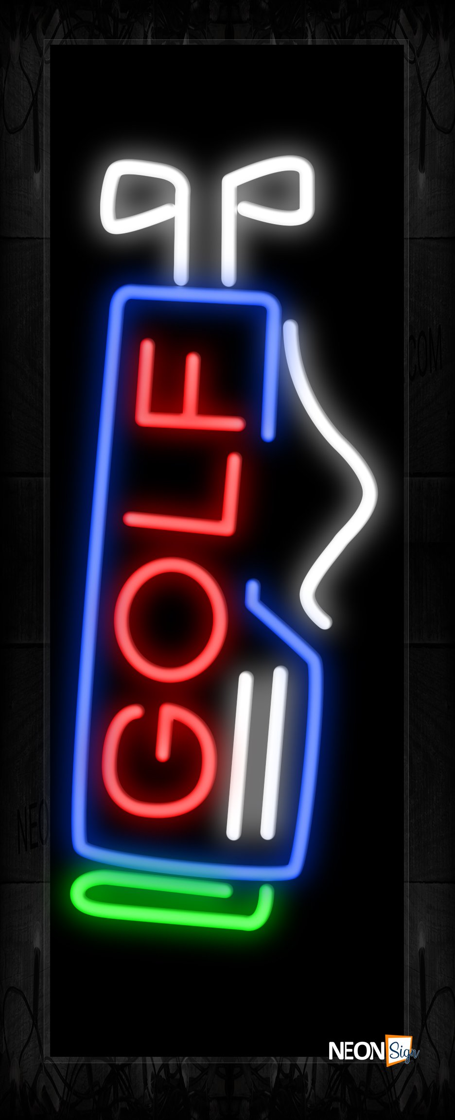 Image of Golf With Equipment Logo Neon Sign