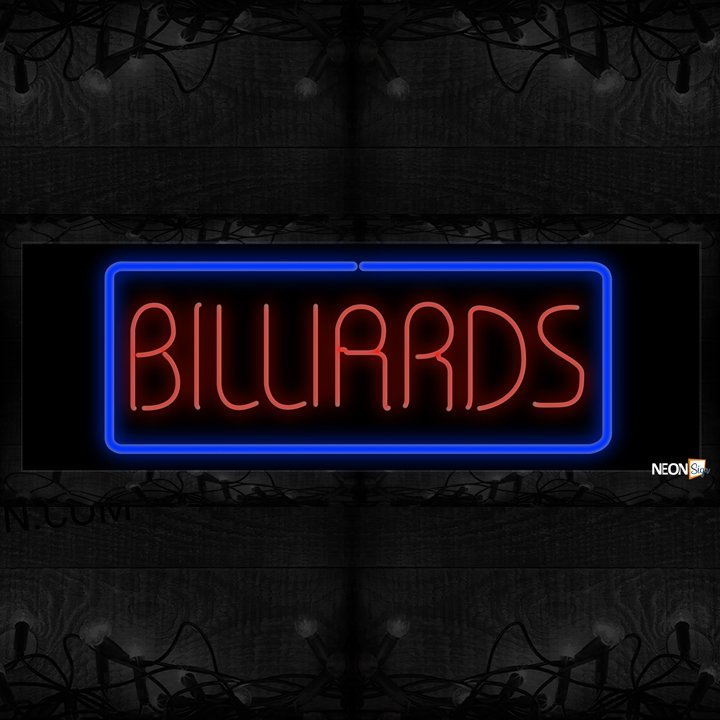 Image of Billiards In Red With Blue Border Neon Sign