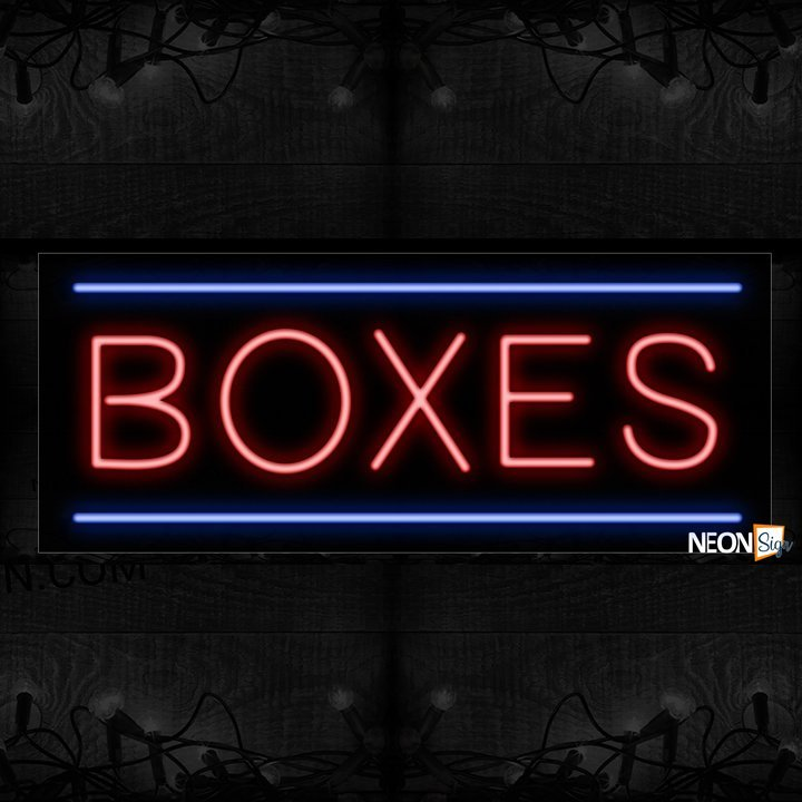 Image of Boxes In Red With Blue Lines Neon Sign