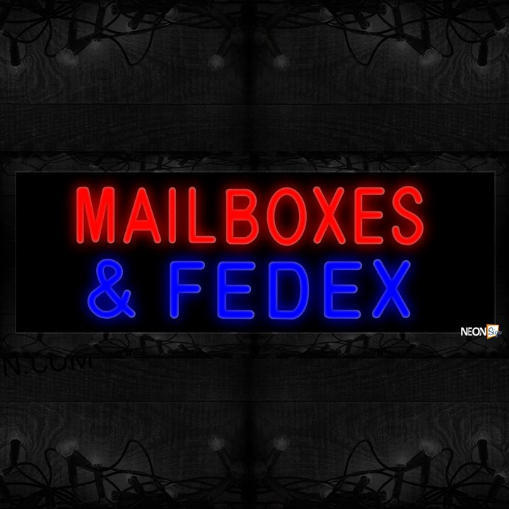 Image of Mailboxes & Fedex Neon Sign