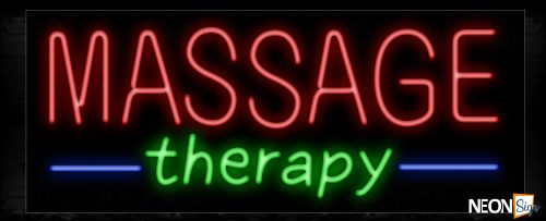 Image of Message Therapy With All Caps And Slanted Text Neon Sign