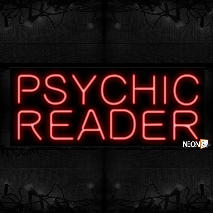 Image of 10613 Psychic Reader in red Neon Sign_13x32 Black Backing