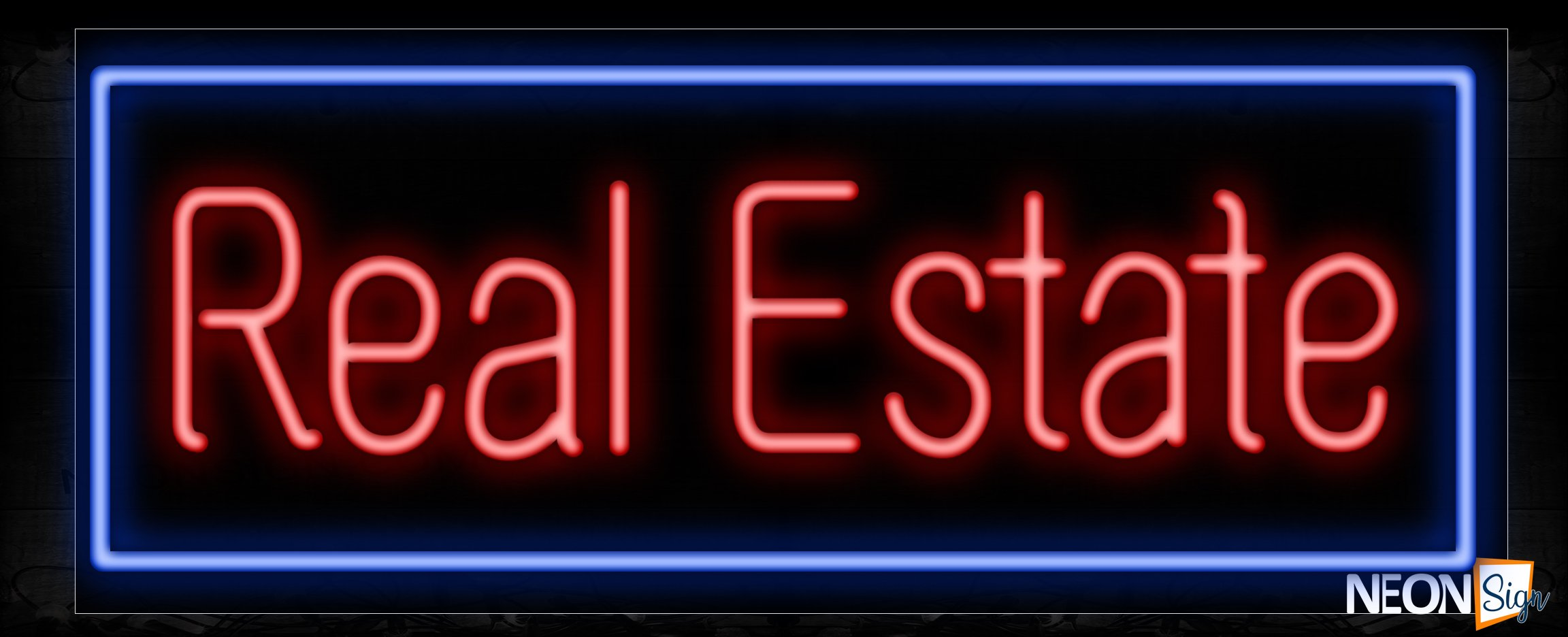 Image of 10614 Real Estate with blue border Neon Sign_13x32 Black Backing