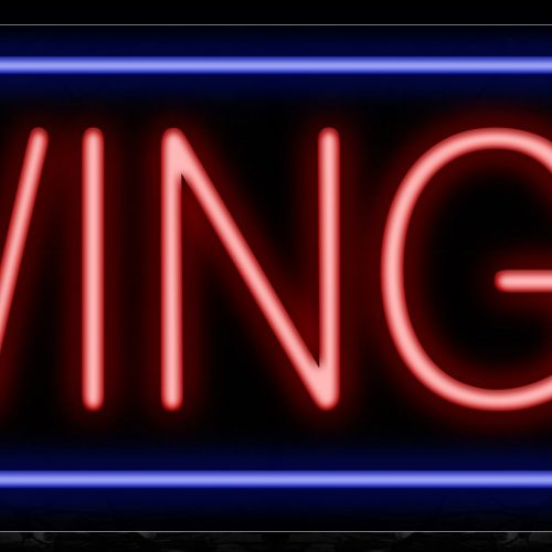 Image of Wings In Red With Blue Border Neon Sign