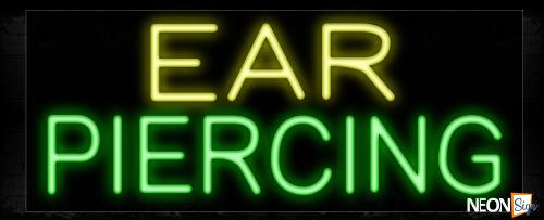 Image of Ear Piercing in yellow and green Neon Sign
