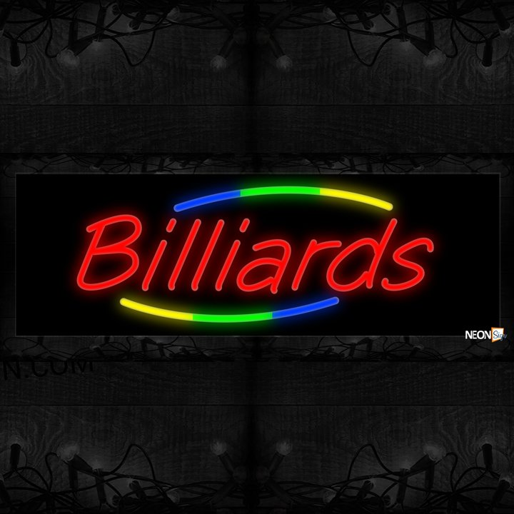 Image of Billiards In Red With Colorful Arc Border Neon Sign
