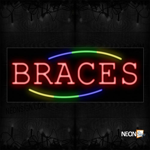 Image of 10747 Braces with 3 colors curve Neon Sign_13x32 Black Backing