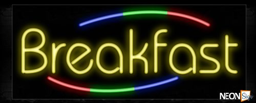 Image of 10749 Breakfast in yellow with colorful arc border Neon Sign_13x32 Black Backing
