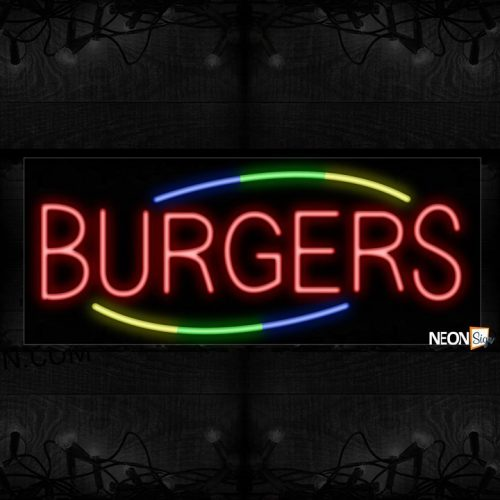 Image of 10753 Burgers with arc border Neon Sign_13x32 Black Backing
