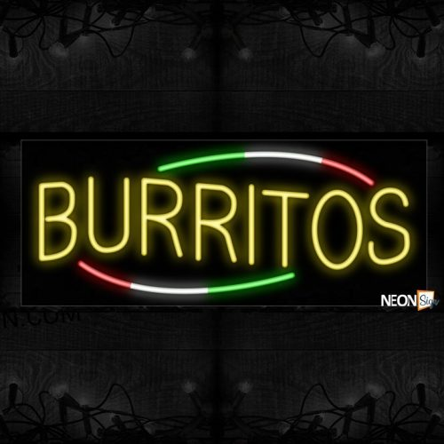 Image of 10754 Burritos with colorful arc border Neon Sign_13x32 Black Backing