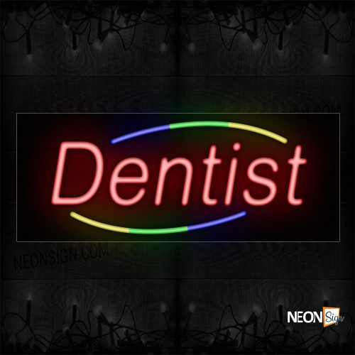 Image of 10780 FDentist in red With Curve border Neon Sign_13x32 Black Backing