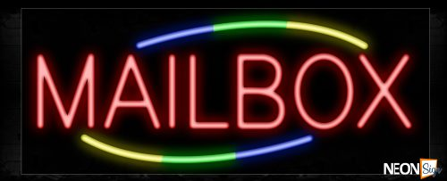 Image of Mailbox In Red With Colorful Arc Border Neon Sign