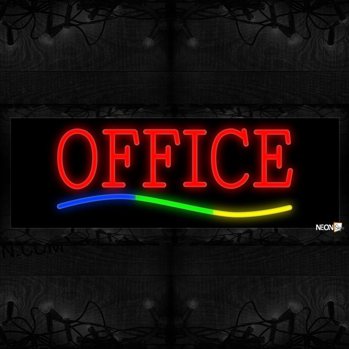 Image of Office In Red With Colorful Lines Neon Sign