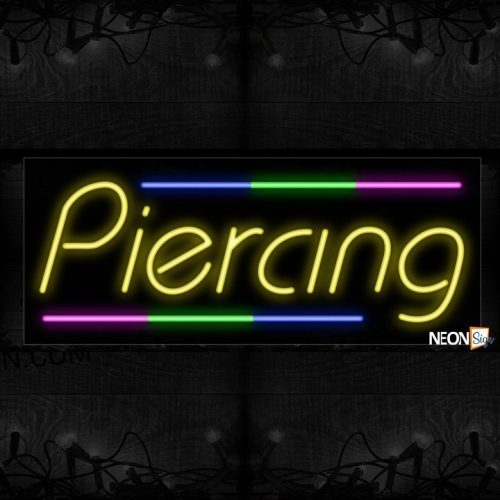 Image of Piercing With Colorful Lines Neon Sign
