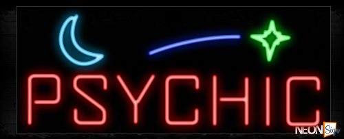 Image of 10881 Psychic with quarter moon and star Neon Sign_13x32 Black Backing