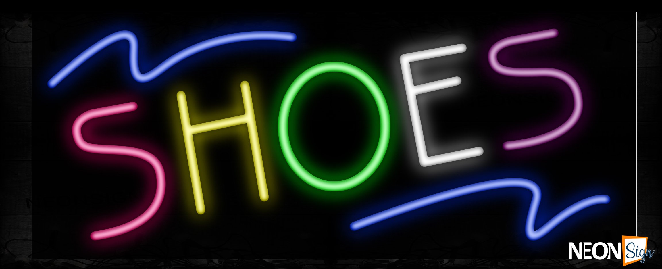 Image of Colorful Shoe With Blue Lines Neon Sign