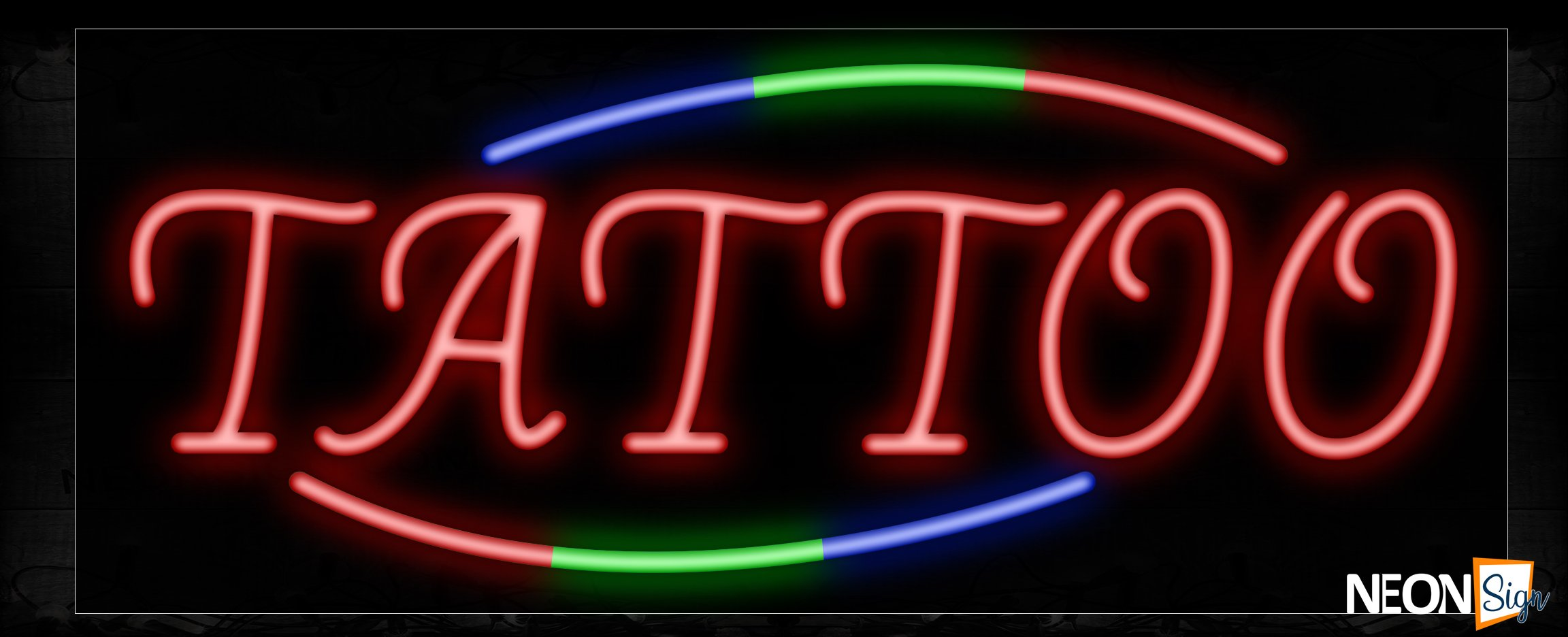 Image of Tattoo With Colorful Arc Border Neon Sign