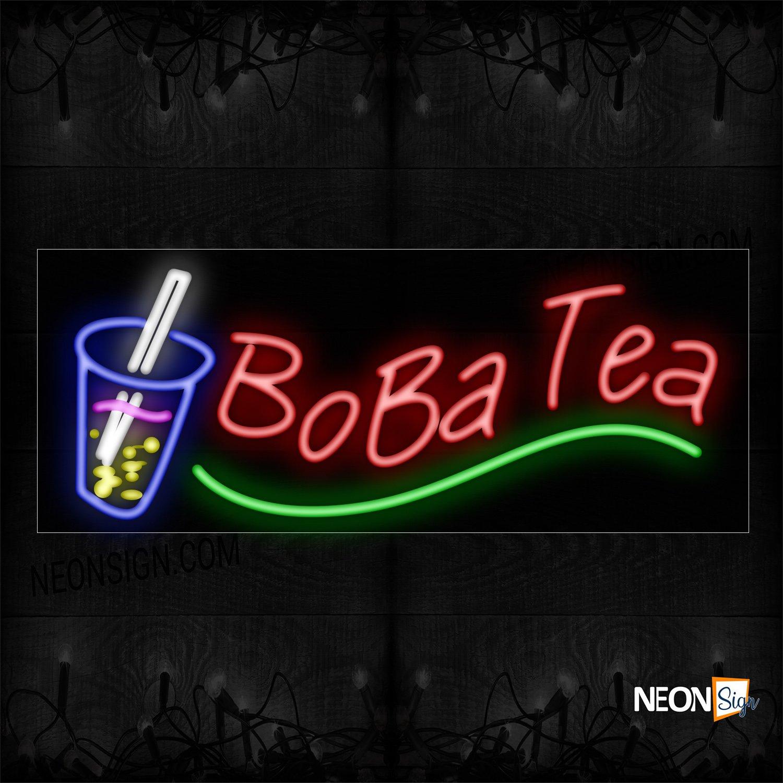 Image of Boba Tea With Wavy Underline Neon Sign