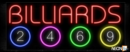 Image of Billiards In Red With Number 2-4-6-9 Ball Neon Sign
