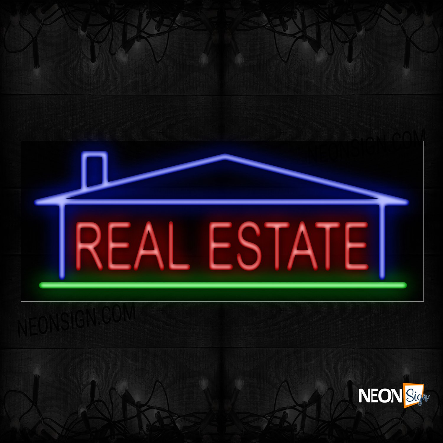 Image of 10958 Real Estate With Underline & House Logo Neon Sign_13x32 Black Backing