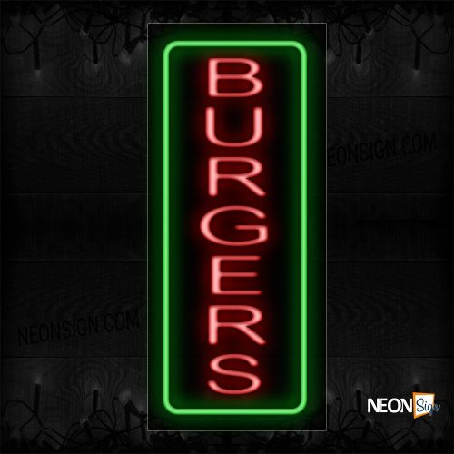 Image of 10973 Burgers In Red With Green Border Neon Sign_13x32 Black Backing