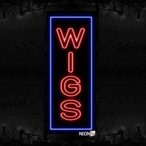 Image of Wigs On Vertical And Outlined All Caps Neon Sign