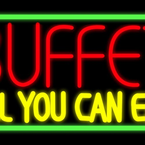 Image of 11056 buffet all you can eat with green border neon sign 20x37 Black Backing