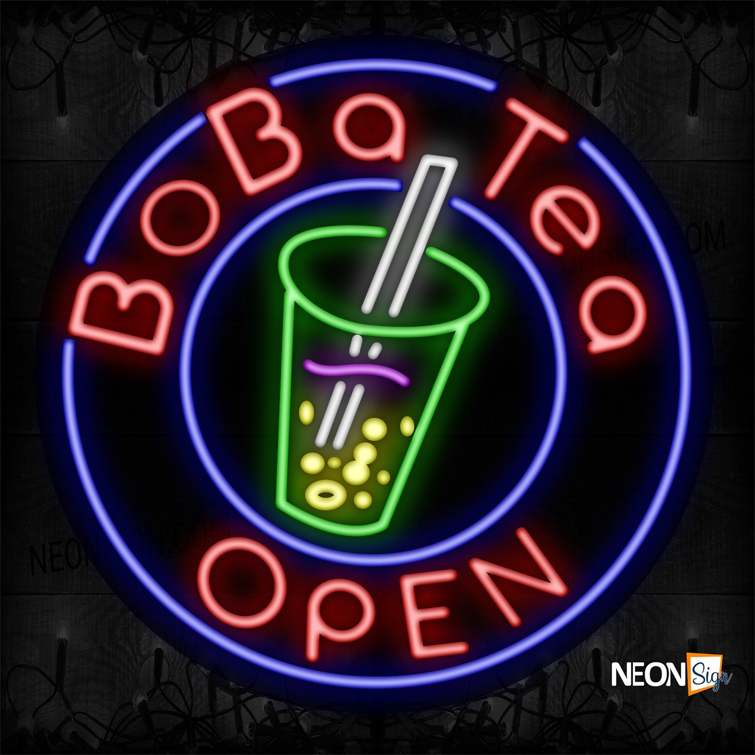 Image of Boba Tea Open With Blue Circle Border And Logo Neon Sign