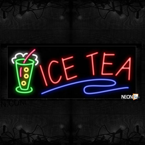 Image of Ice Tea With Blue Line And Smoothies Logo Neon Sign