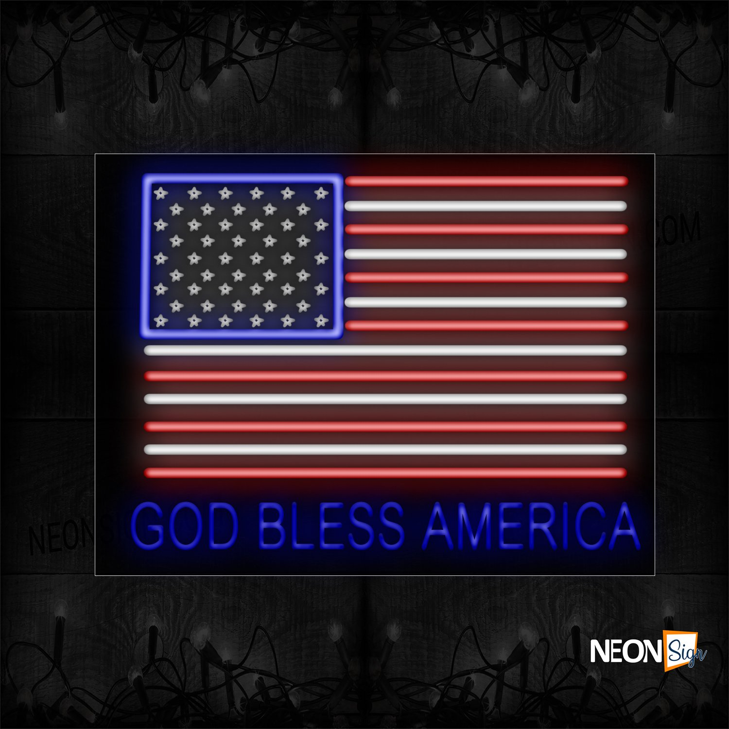 Image of 11240 God Bless America With American Flag Neon Sign_24x31 Black Backing