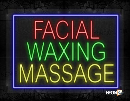Image of Facial Waxing Message With Blue Border Neon Sign