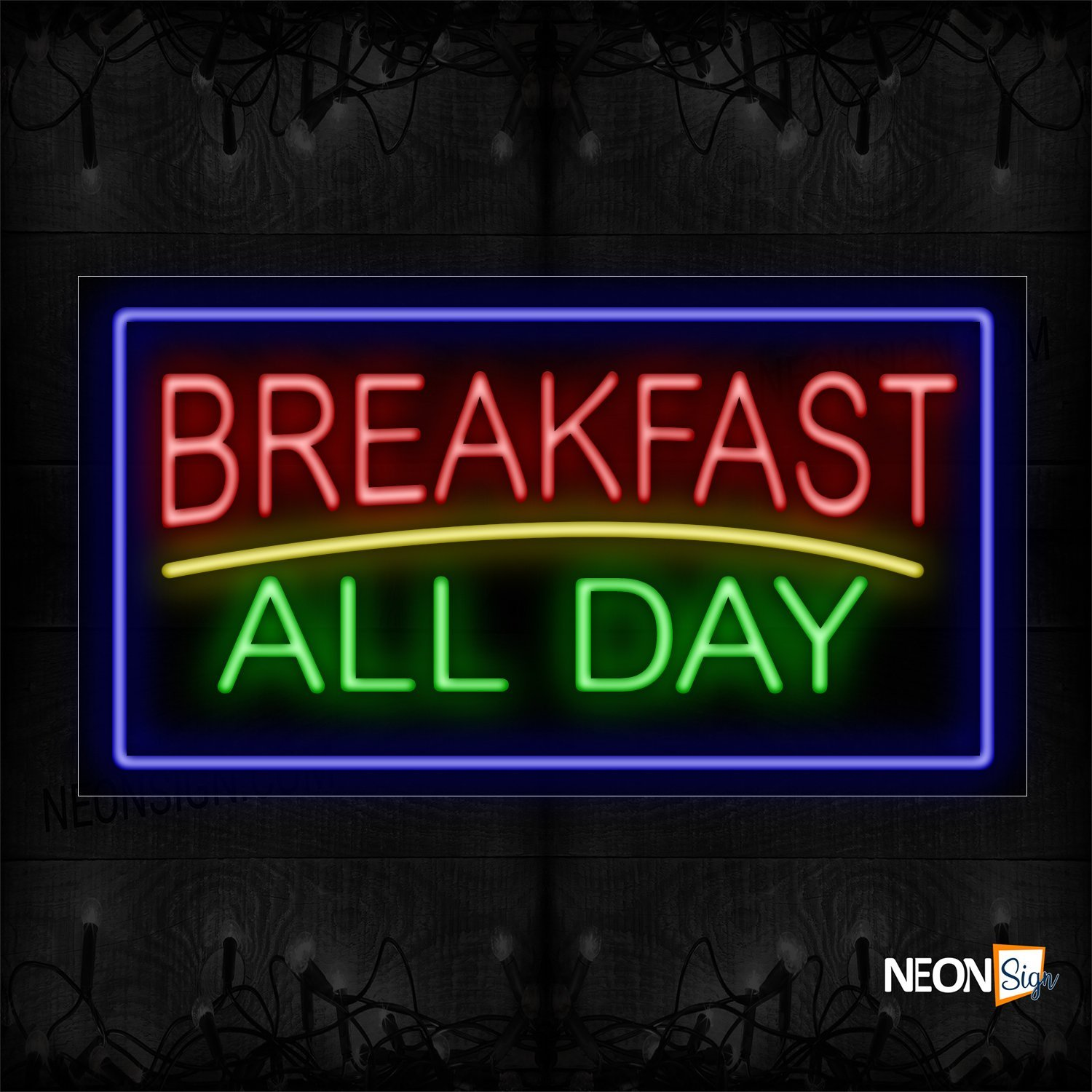 Image of 11273 Breakfast All Day With Blue Border And Yellow Line Neon Sign_20x37 Black Backing