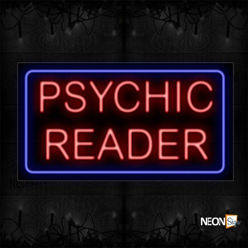Image of 11298 Psychic Reader With Blue Box An Simple Text Neon Sign_20x37 Black Backing11298 Psychic Reader With Blue Box An Simple Text Neon Sign_20x37 Black Backing