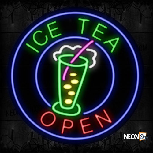 Image of Ice Tea Open With Blue Circle Border And Logo Neon Sign